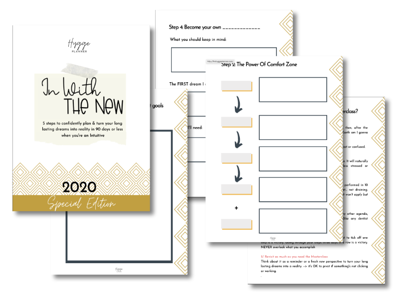 in with the new mockup workbook the hygge planner, fulfill your dreams in 90 days as an intuitive, introvert goal setting
