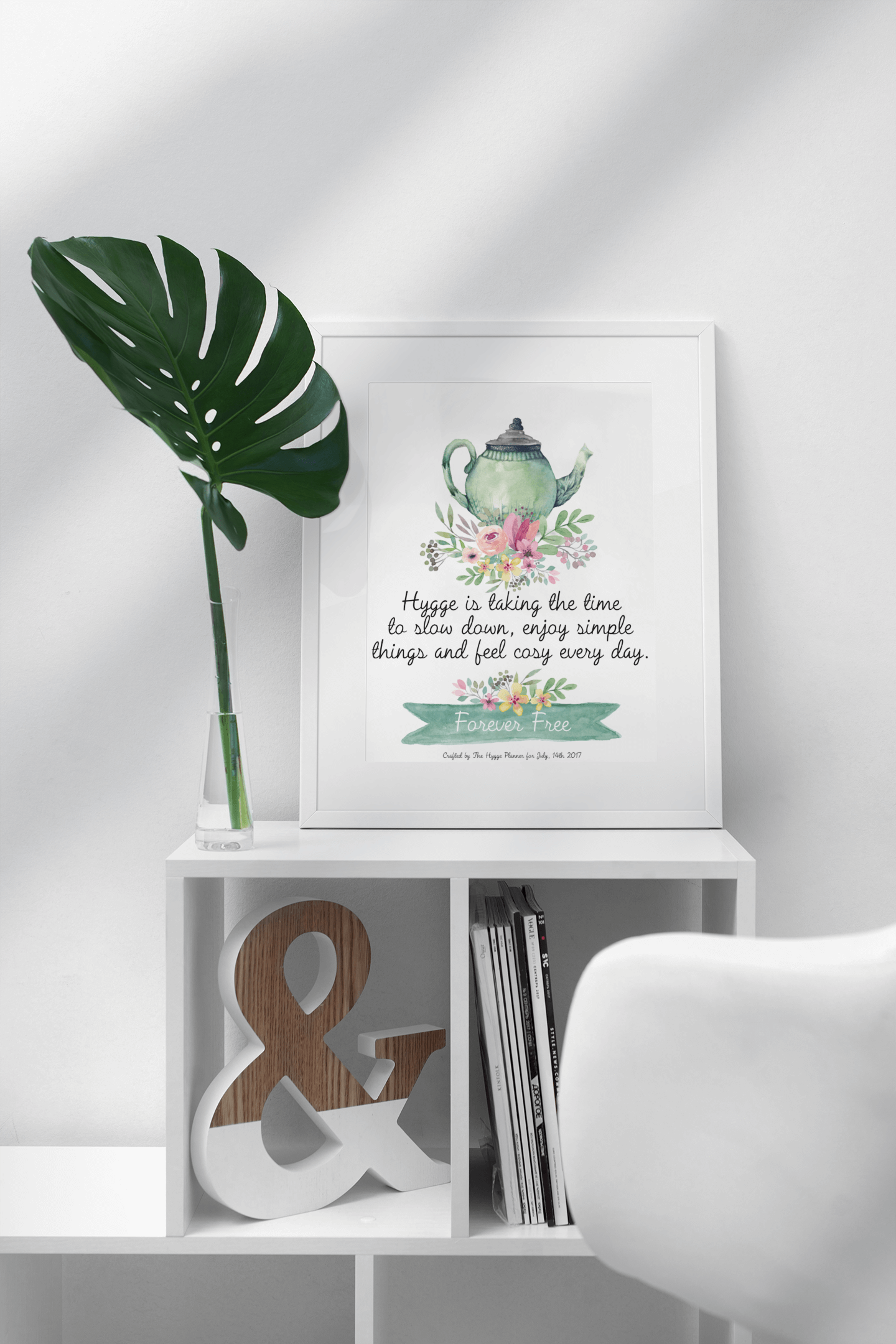 Tea pot poster- the hygge planner poster - tea pot hygge- hyggelig tea pot