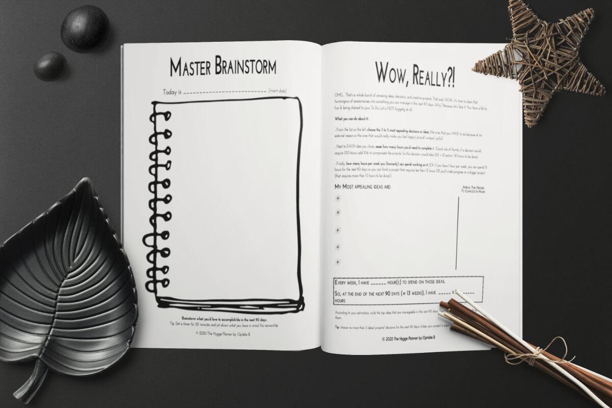 master brainstorm hygge planner