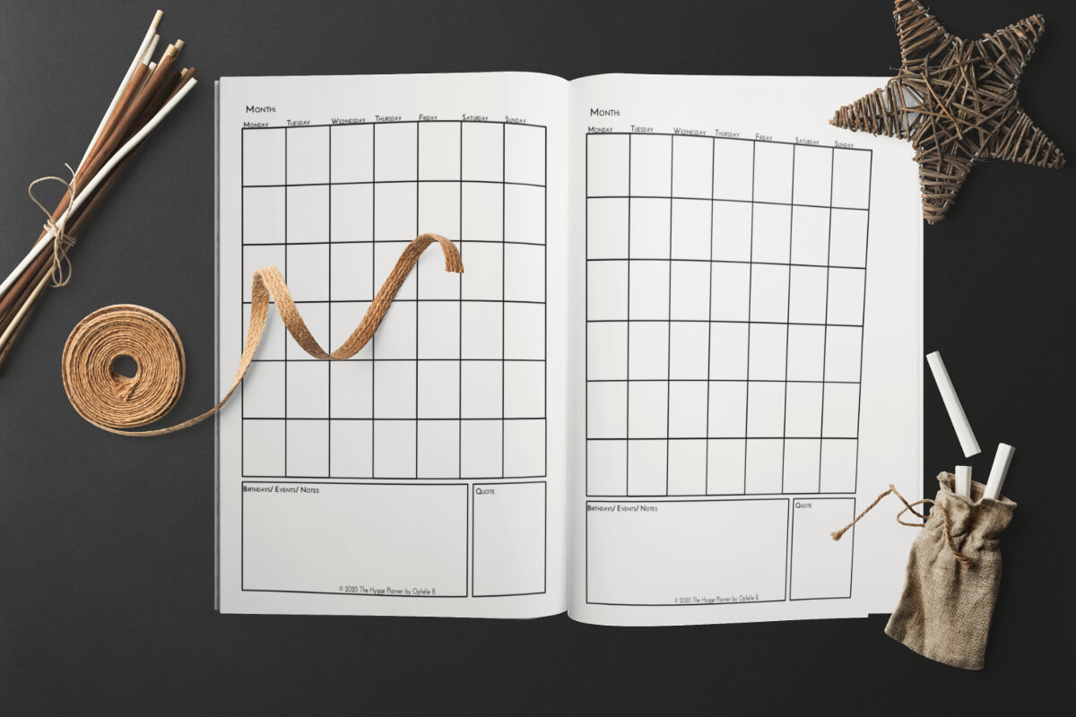 monthly view hygge planner 90 days